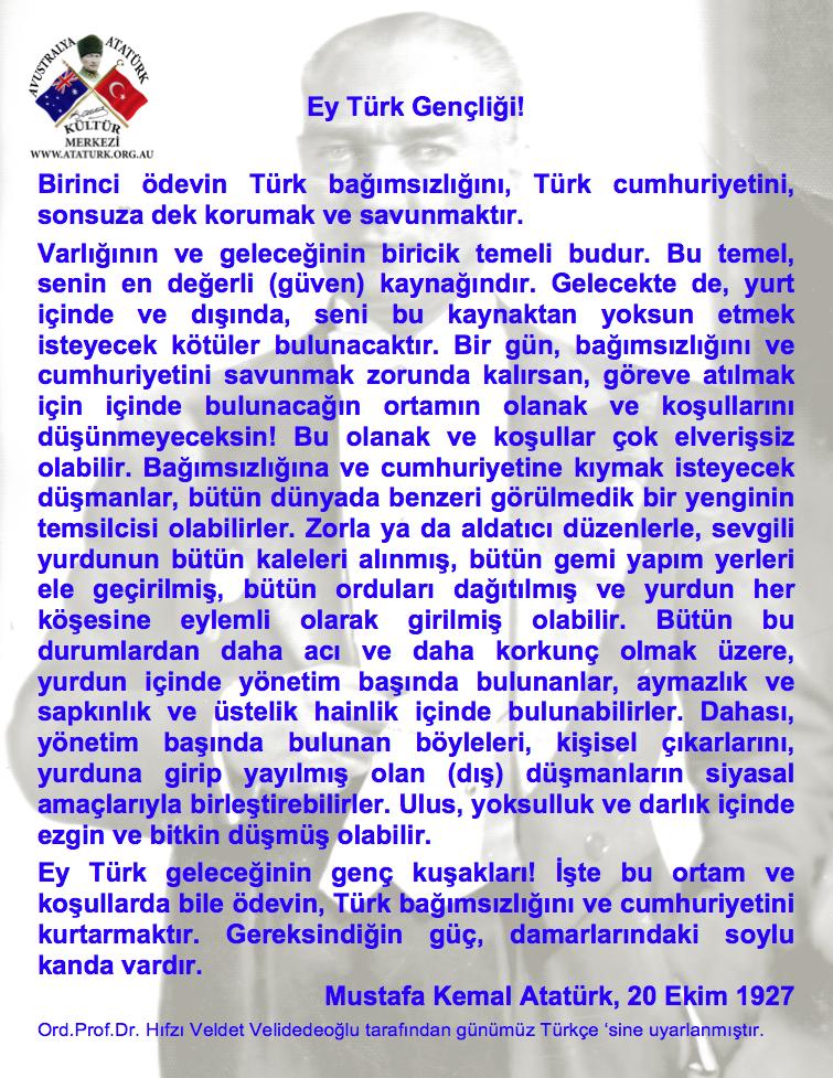 ATATÜRKün Gençliğe Hitabesi - Yeni Türkçe Blue