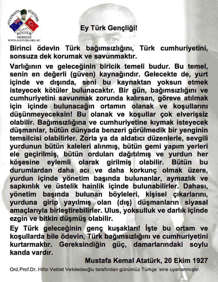 ATATÜRKün Gençliğe Hitabesi - Yeni Türkçe